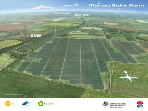 Artists Impression of the 150 megawatt Moree Solar Farm