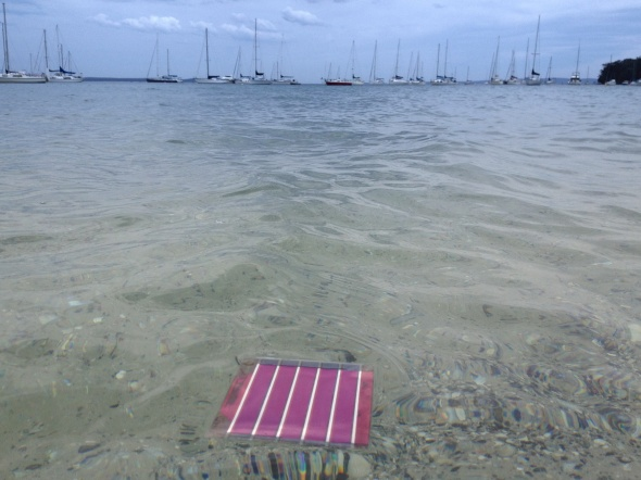 Organic printed solar cell floating in the water.