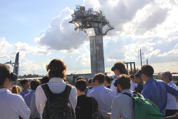 SolarPACES symposium attendees viewing CSIRO's solar tower in action.